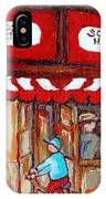 Carole Spandau Paints Montreal Memories - Montreal Landmarks - Schwartzs Hebrew Deli St. Laurent  IPhone Case