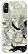 Cats In A Bicycle Race, Hyde Park, 1896 IPhone Case