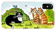Cats Talking In A Sunny Garden IPhone Case