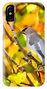 Cedar Waxwing In Autumn Leaves IPhone Case