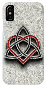 Celtic Knotwork Valentine Heart Bone Texture IPhone Case by Brian Carson