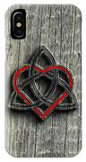 Celtic Knotwork Valentine Heart Wood Texture 2 IPhone Case by Brian Carson