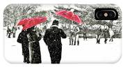 Central Park Snow And Red Umbrellas IPhone Case