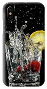 Cherries Splashing Into Sparkling Water Glass With Lemon Slice O IPhone Case