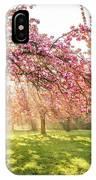 Cherry Flowers Garden Illuminated With Sunrise Beams IPhone Case