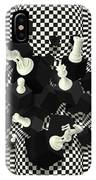 Chessboard And 3d Chess Pieces Composition IPhone Case