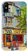 Chez Vito Rue Fairmount Landmark Architecture Beautiful Summer Scene Montreal 375 Carole Spandau Art IPhone Case