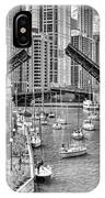 Chicago River Boat Migration In Black And White IPhone Case