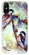 Chickadees On Twig IPhone Case