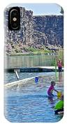 Children Playing In Dierkes Lake In Snake River Above Shoshone Falls Near Twin Falls-idaho  IPhone Case