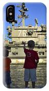 Children Wave As Uss Ronald Reagan IPhone Case