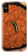 Chili In Black Pan On Wood Table With Jalapeno Pepper IPhone Case