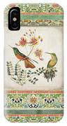 Triptych - Chinoiserie Vintage Hummingbirds N Flowers IPhone Case