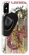 Christmas Cowboy Hat On Fence - Merry Christmas  IPhone Case
