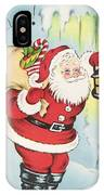 Christmas Illustration 1216 - Vintage Christmas Cards - Santa Claus With Christmas Gifts IPhone Case