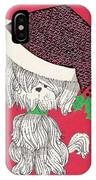 Christmas Illustration 1219 - Vintage Christmas Cards - Little Dog With Chrismtas Hat IPhone Case