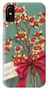 Christmas Illustration 1228 - Vintage Christmas Cards - Holiday Cheer - Flowers IPhone Case