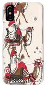Christmas Illustration 1234 - Vintage Christmas Cards - Three Kings On Camel IPhone Case