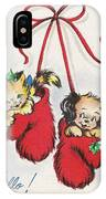 Christmas Illustration 1253 - Vintage Christmas Cards - Little Dog And Kitten IPhone Case
