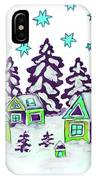 Christmas Picture In Green And Blue Colours IPhone Case