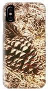 Christmas Pinecone On Barn Floor IPhone Case