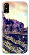 Church Dominant With Decorative Historical Staircase, Graphic Work From Painting. IPhone Case