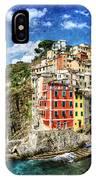 Cinque Terre - Riomaggiore From Above- Vintage Version IPhone Case