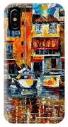 City Pier - Palette Knife Oil Painting On Canvas By Leonid Afremov IPhone Case