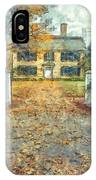 Classic Colonial Home In Autumn Pencil IPhone Case