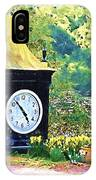 Clock Tower In The Garden IPhone Case