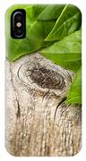 Close Up Fresh Basil Leafs On Rustic Wooden Boards IPhone Case