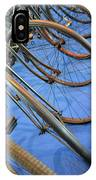 Close Up On Many Wheels From Bicycles  IPhone Case