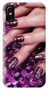 Closeup Of Woman Hands With Purple Nail Polish IPhone Case