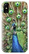 Closeup Portrait Of An Indian Peacock Displaying Its Plumage IPhone Case