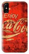 Coca Cola Square Aged Texture Black Border IPhone Case