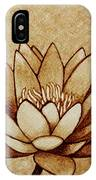 Coffee Painting Water Lilly Blooming IPhone Case