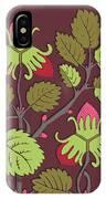 Colorful Botanical Hand Drawn Strawberry Bush Isolated On Vinous IPhone Case