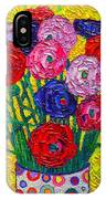 Colorful Ranunculus Flowers In Polka Dots Vase Palette Knife Oil Painting By Ana Maria Edulescu IPhone Case