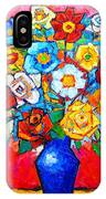 Colorful Roses And Camellias - Abstract Bouquet Of Flowers IPhone Case