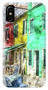 Colorful Street In Burano Near Venice Italy IPhone Case