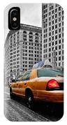 Colour Popped Nyc Cab In Front Of The Flat Iron Building  IPhone Case