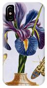 Common Iris With Butterflies IPhone Case