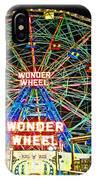 Coney Island's Wonderous Wonder Wheel In Neon IPhone Case