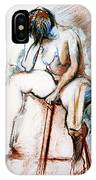 Contemplation - Nude On A Stool IPhone Case