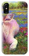 Contented Cow In Colorful Meadow IPhone Case