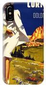 Cortina Dolomiti Italy Vintage Poster Restored IPhone Case