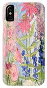 Cottage Flowers With Dragonfly IPhone Case
