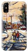 Purchase Best Original Quebec Winter Scene Paintings Achetez  Paysage De Quebec Cspandau Art IPhone Case
