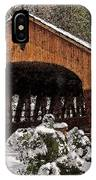 Covered Bridge At Olmsted Falls-winter-2 IPhone Case