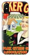 Cracker Girl Citrus Crate Label C. 1920 IPhone Case